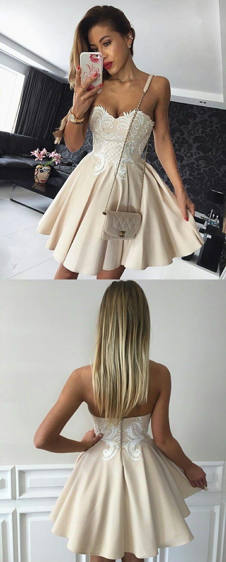 Aline sweetheart kneelength champagne satin homecoming dress with