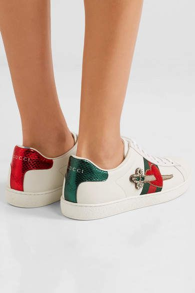 Gucci Appliquéd Embellished Leather Sneakers - White
