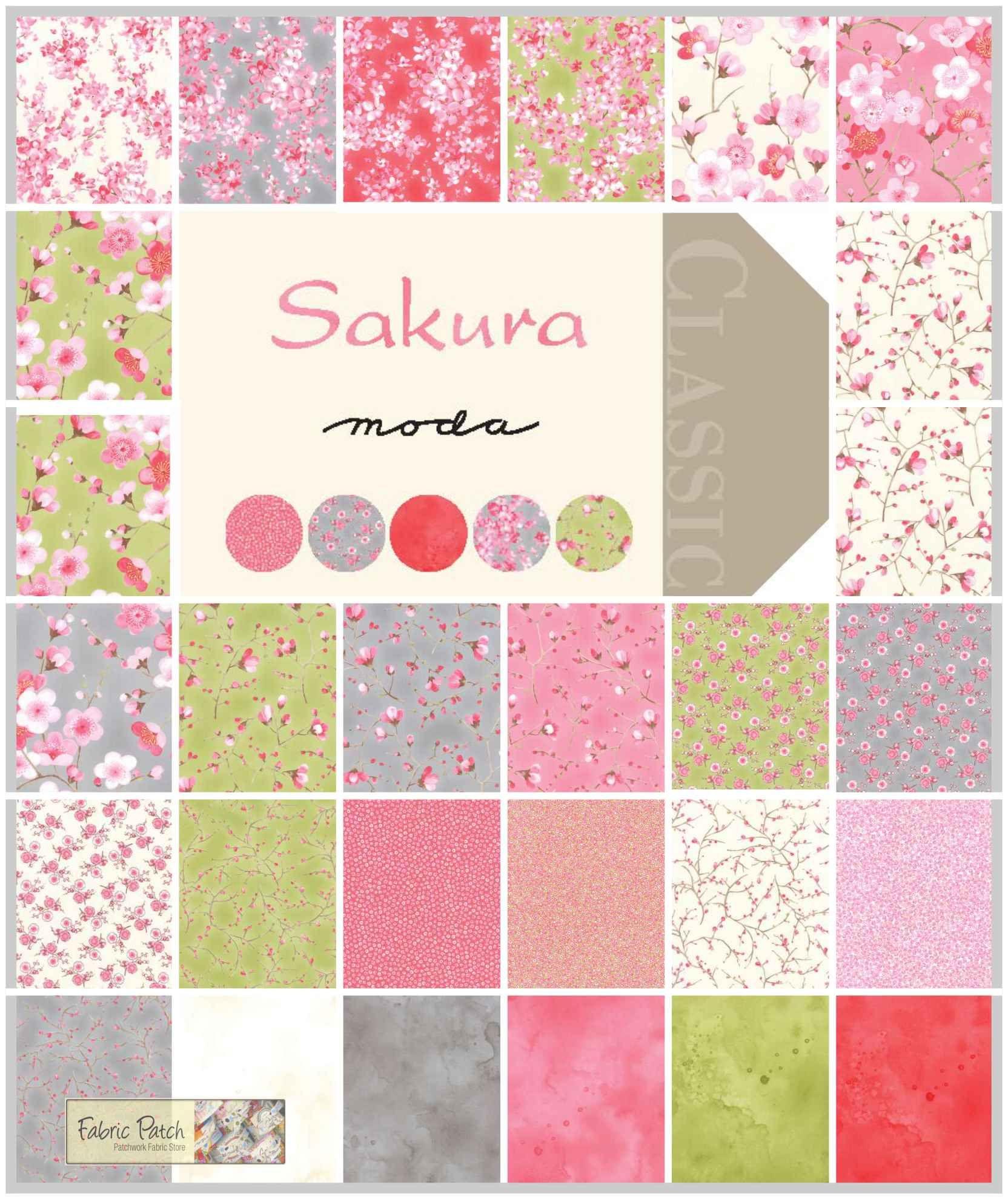 Sakura Fat Quarter Bundle. by Sentimental Studios for Moda Fabrics ... : moda quilting fabric - Adamdwight.com
