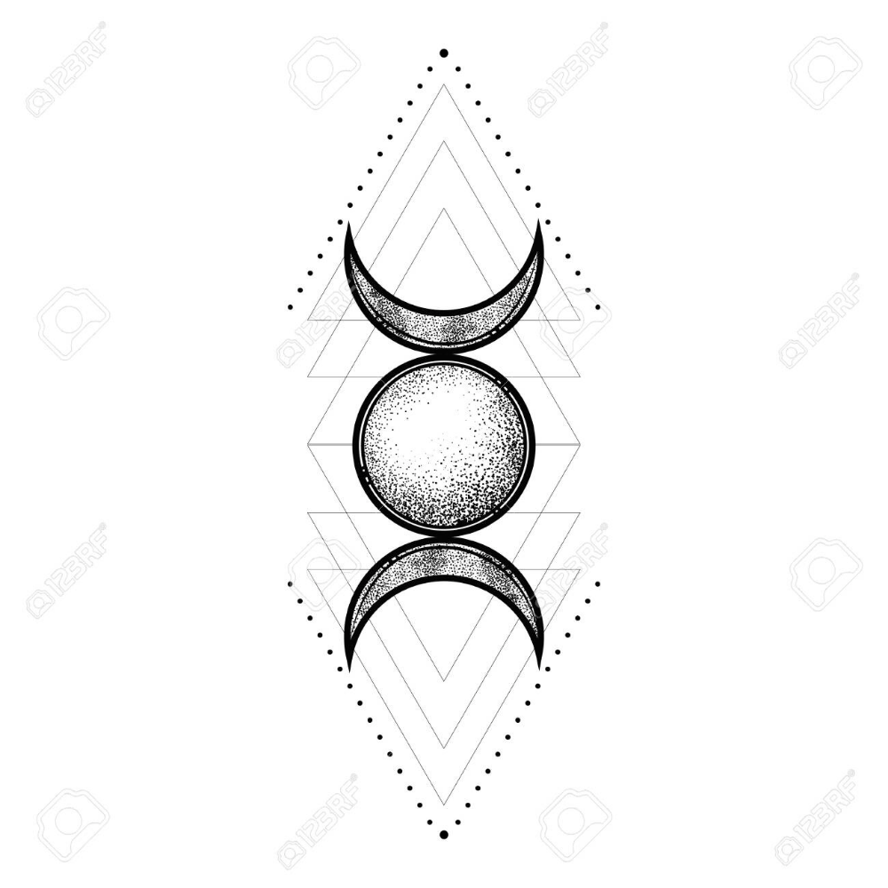 Sacred Geometry Symbol Including Moon Sun Modern Esoteric Decorative Sacred Geometry Symbols Sacred Geometry Tattoo Geometric Symbols
