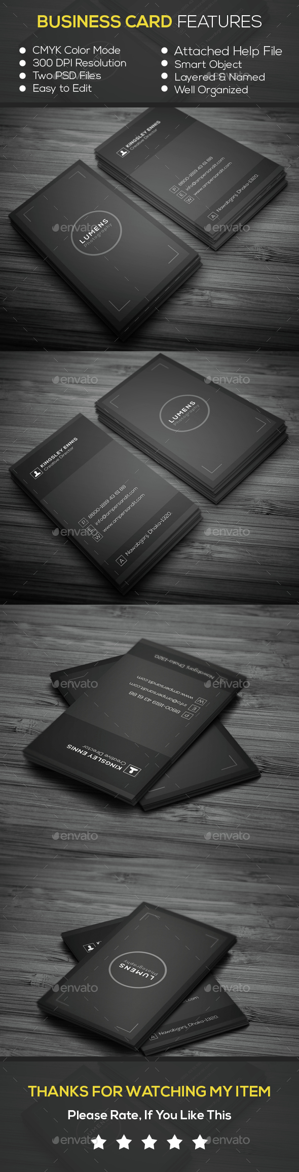 Minimal Photography Business Card — Photoshop PSD #clean design ...