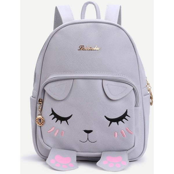Grey Cat Face Design Cute Backpack (1,035 DOP) ❤ liked on ...