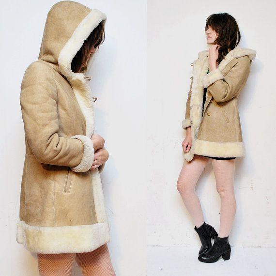 70s hooded SHEARLING coat. fur coat. sheepskin princess coat - xs ...
