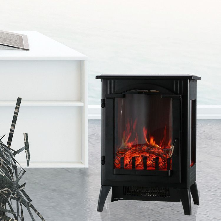 Portable Indoor Home Compact Electric Wood Stove Fireplace Heater With Thermostat For Office In 2020 Electric Wood Stove Wood Stove Fireplace Freestanding Fireplace