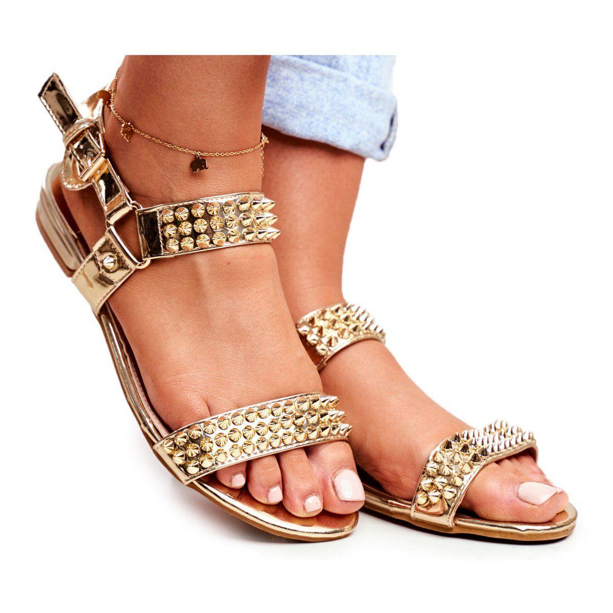 Zlote Damskie Plaskie Sandalki Lu Boo Z Cwiekami Aldona Zloty Shoes Sandals Fashion