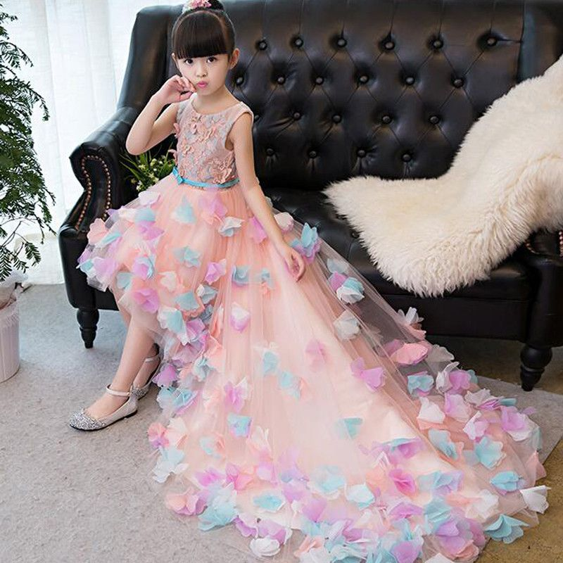 Exquisite Embroidered Princess Dress Party Prom Sleeveless Dress for Kids Girls