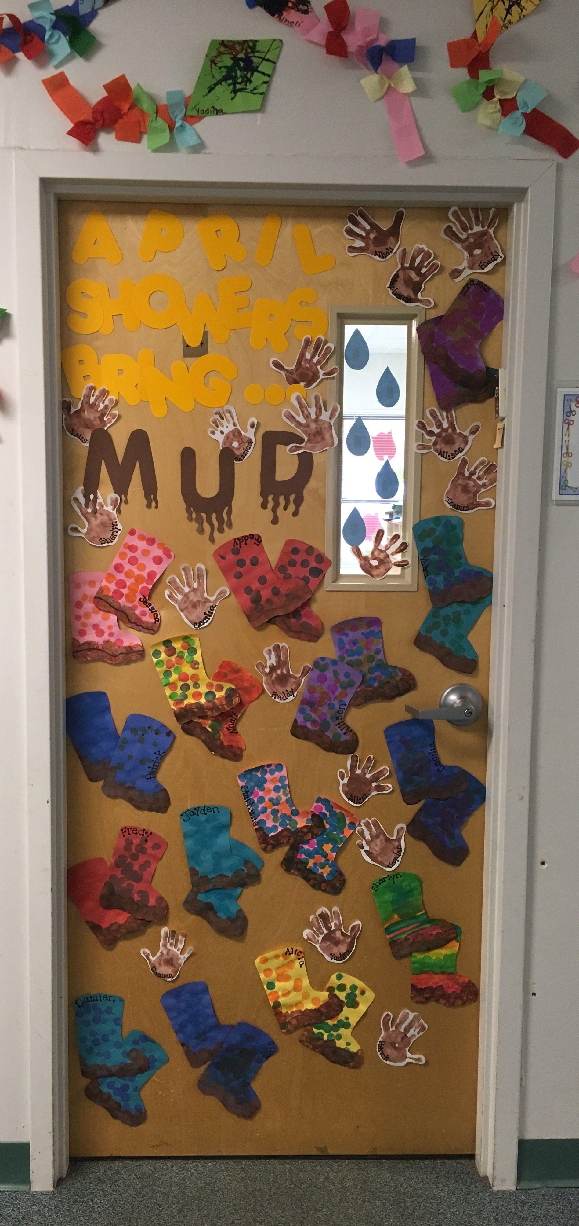 Spring Classroom Door April Showers Bring Mud Spring
