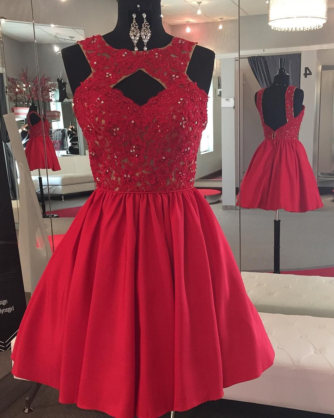 Backless Beaded Lace Red Satin Homecoming Dress Short Prom Gowns Elegant Homecoming Dresses Simple Homecoming Dresses Satin Homecoming Dress [ 1349 x 1080 Pixel ]