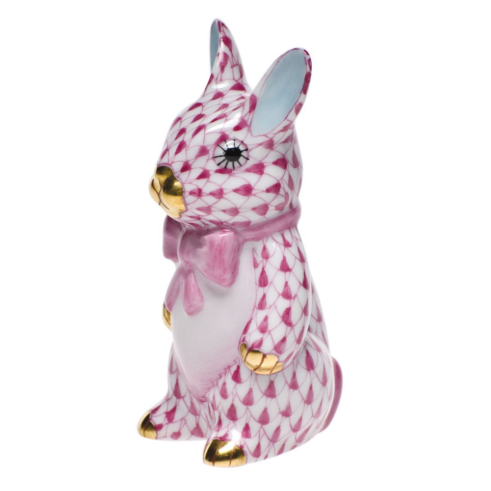 """Herend Kangaroo Hand Painted Porcelain Figurine In Pink: Herend Hand Painted Porcelain Figurine """"Bunny With A"""