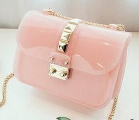 2016 Summer New Women's Candy Colored Jelly Bags Rivet Shoulder Diagonal Chain Bag Mini Party Bags High Quality Messenger Bag