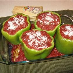 Stuffed Peppers with Creole Sauce Allrecipes.com. Made this last night and it was so yummy!
