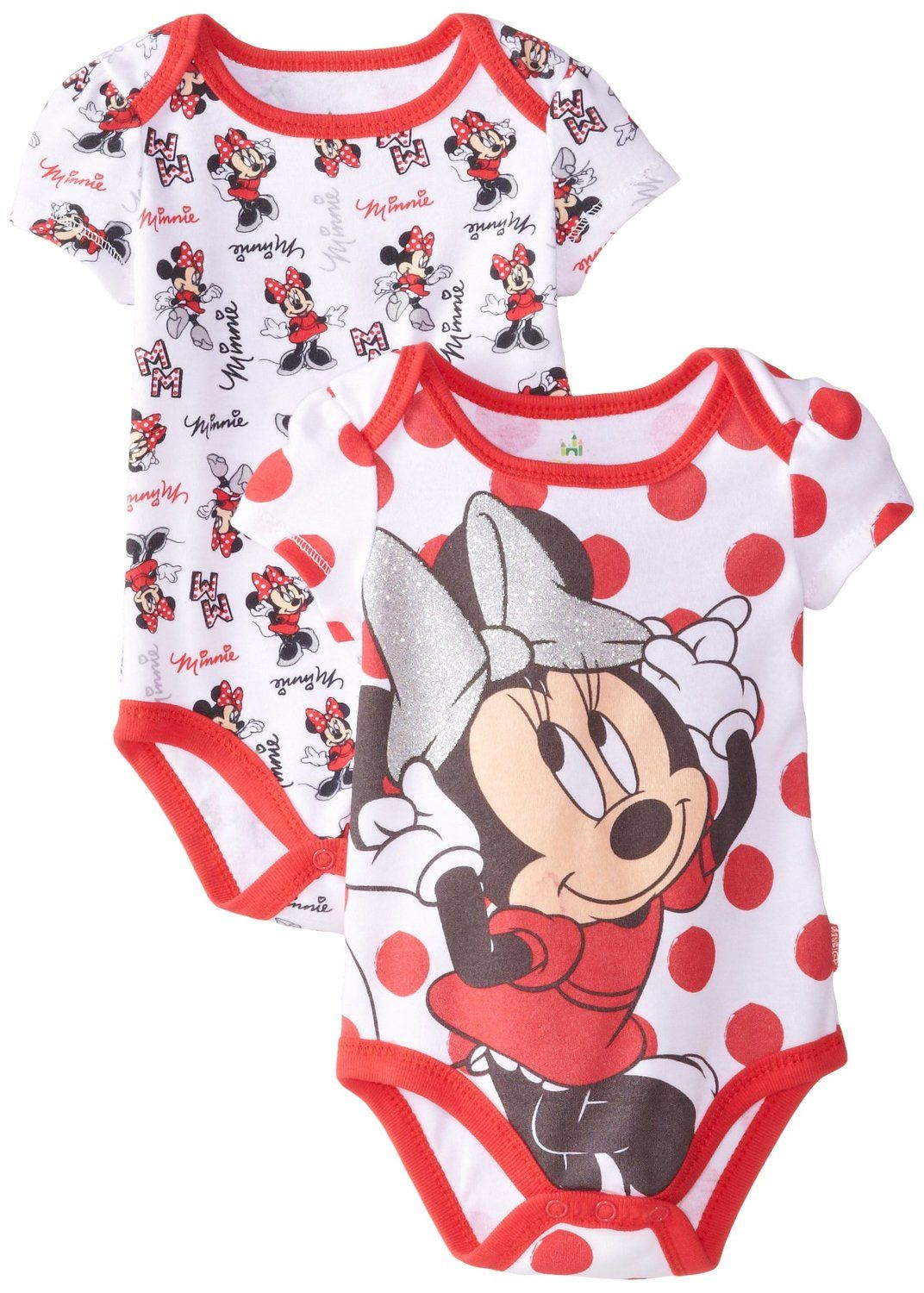 9216eab624f Amazon.com: Disney Baby Baby-Girls Newborn Minnie Mouse 2 Pack Bodysuit:  Clothing