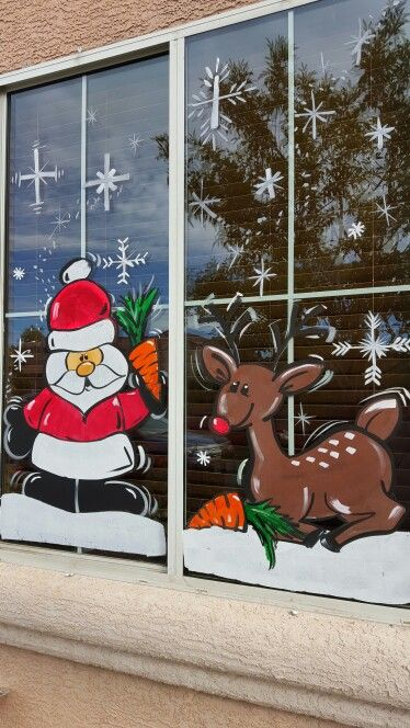 santa and rudolph christmas window painting painted window art christmas paintings santa and rudolph christmas window