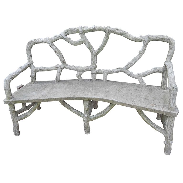 1stdibs   French Faux Bois Ciment Garden Bench explore items from 1 700  global dealers at 1stdibs. French Faux Bois Ciment Garden Bench   Faux bois