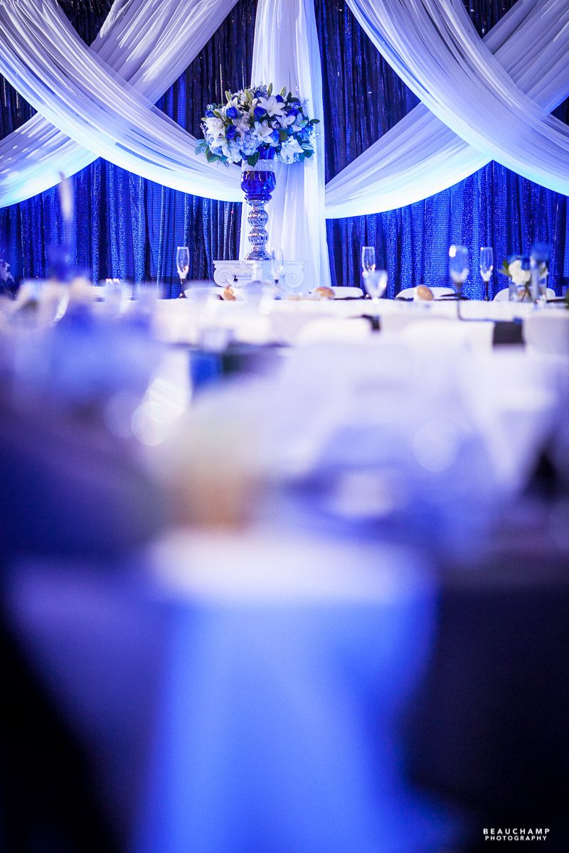 White wedding decor ideas  Blue and white wedding To see more images by BEAUCHAMP PHOTOGRAPHY