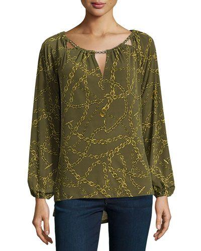 MICHAEL MICHAEL KORS Chain-Print Keyhole Blouse, Dark Olive. #michaelmichaelkors #cloth #blouse