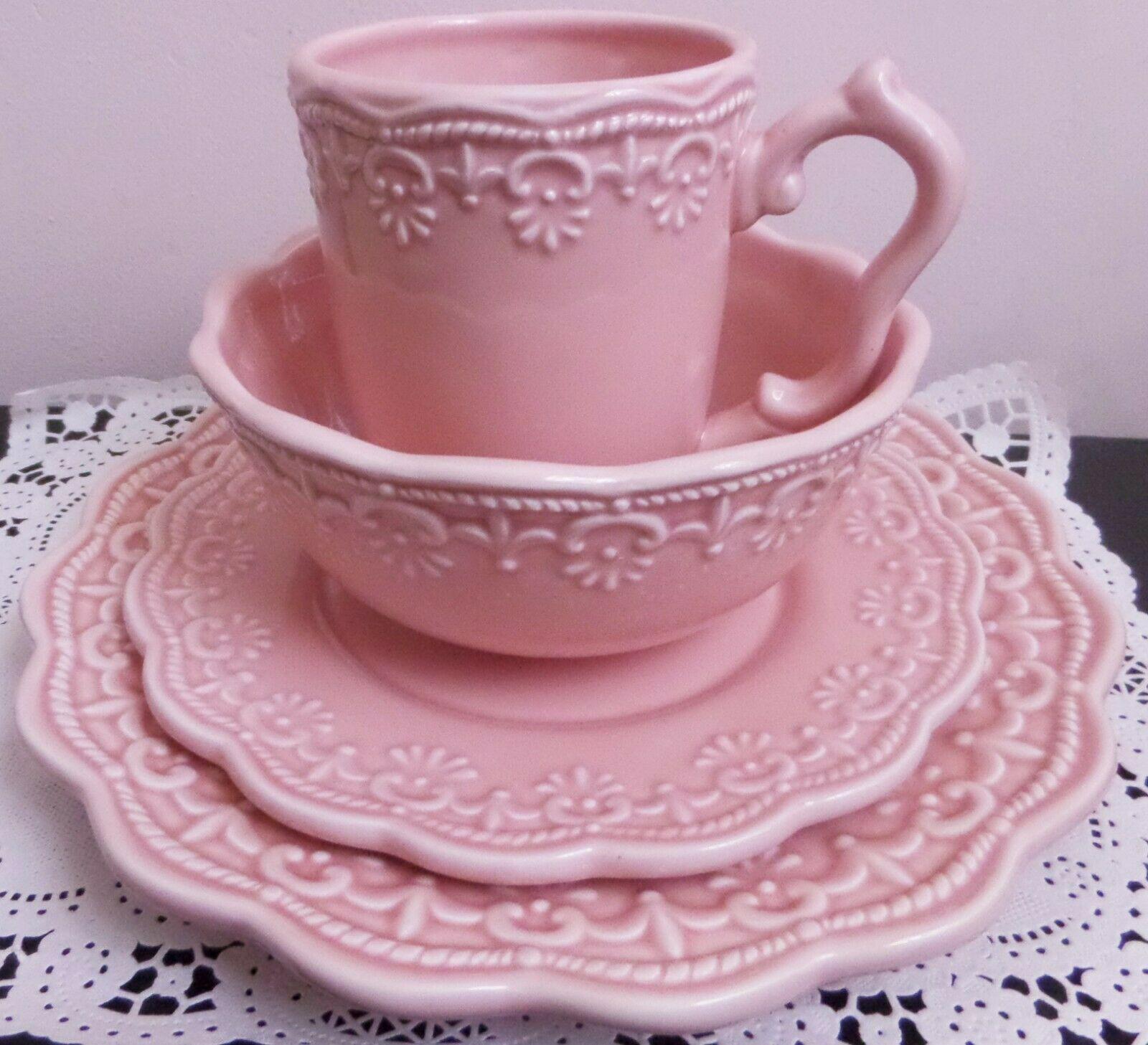 Victorian Lace 4 Piece Pink Ceramic Dinnerware Set  - Dinnerware - Ideas of Dinnerware #Dinnerware #casualdinnerware