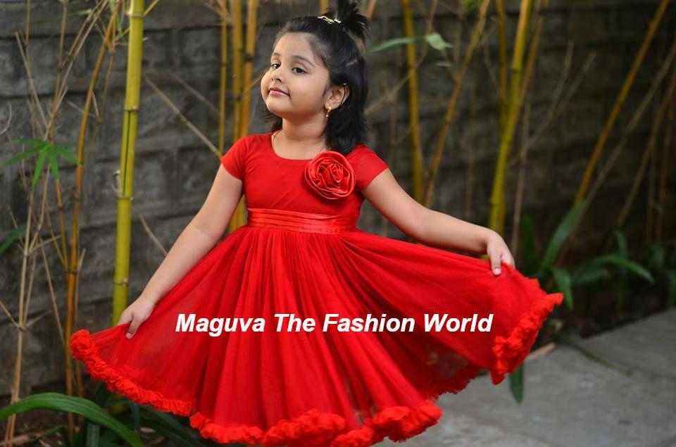 d9e9cbc3cbc5 Cute kid in Red frock Designed bt aadyaa-soul of elegance   kids ...