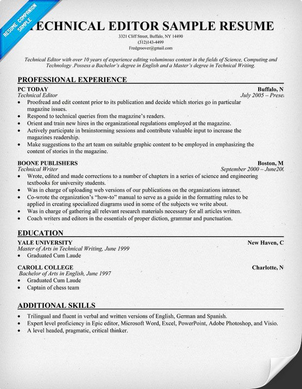 Technical #Editor Resume (resumecompanion) Resume Samples - technical writer resume