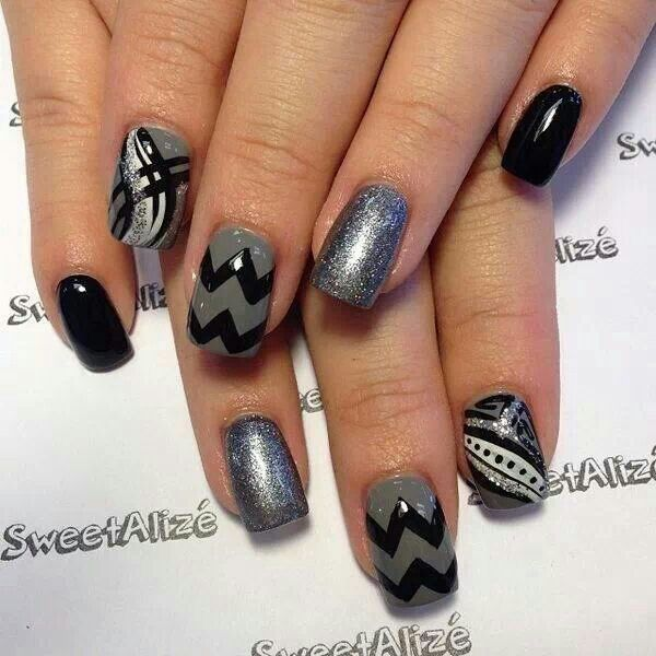 Image Result For Black And Grey Nail Art