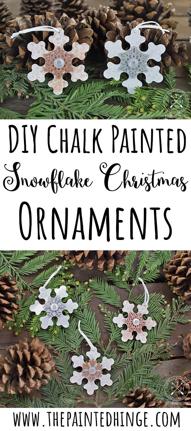DIY Chalk Paint Wood Snowflake Christmas Ornaments is part of Diy chalk paint, Christmas ornaments, Wood snowflake, Christmas crafts, Snowflake craft, Ornaments - Hey friends! How are your Christmas preparations going  Mine are… going  🙂 I made these ornaments to spruce up the garland on our staircase  I actually bought the wood snowflakes last year, but didn't find a use for them until now  What I really like about these is you can make a bunch of them …
