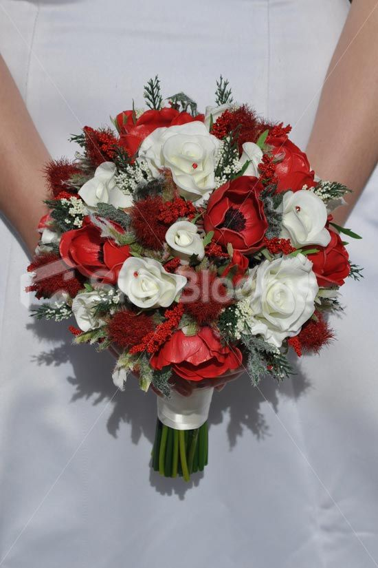 Ruby Red Scottish Thistle White Roses Anemones Bridal Wedding Bouquet