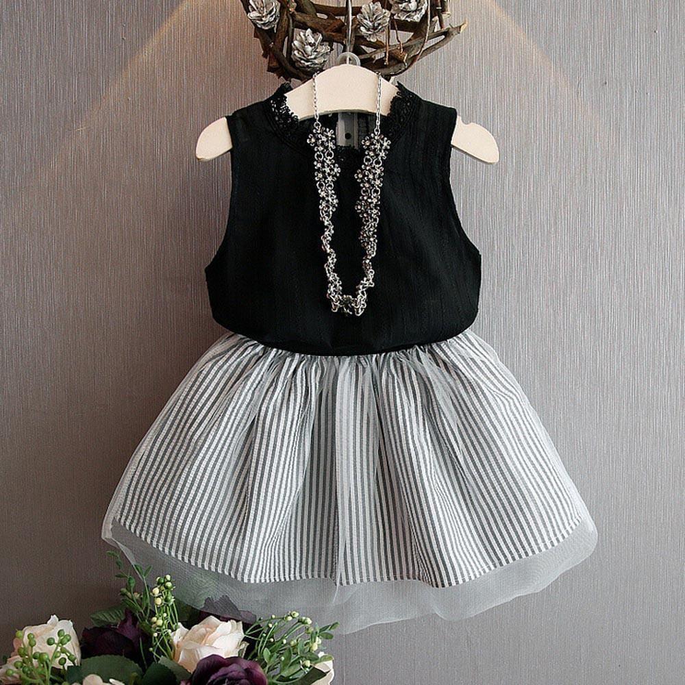 25e6bbb58d81 Girls clothing set Baby Kids Girl Clothing Sleeveless Blouse T-shirt+Stripe  Short Skirt Set Outfits