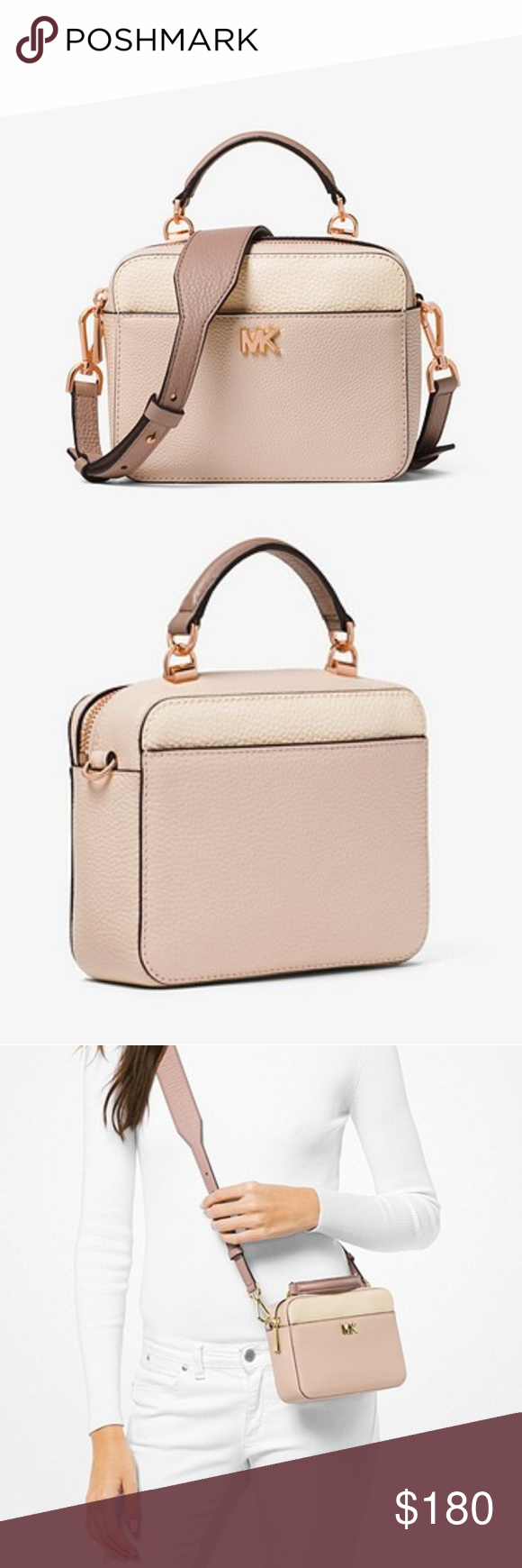 0a318209f739 •Michael Kors• Golden Rose Mott Mini Color-Block Gorgeous pebbled leather  crossbody purse