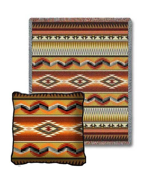 Apache Earth Tapestry Pillow and Throw Set - - Great for #Gift giving - Great for #Decorating - Buy at Snugglebug #Pillows and #Throws - www.snugglebugpillowsandthrows.com