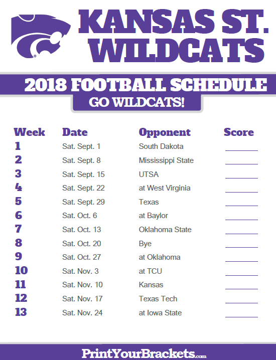 photograph relating to Michigan Football Schedule Printable known as 2018 Printable Kansas Region Wildcats Soccer Plan