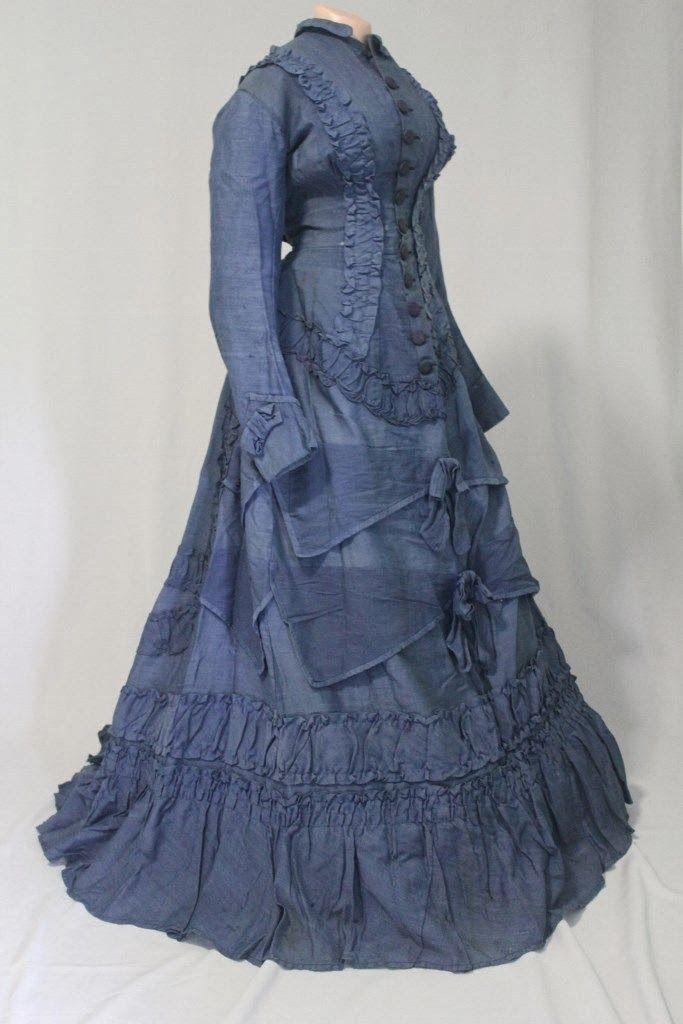 1870 Dresses | Blue 1870's Bustle Era Dress