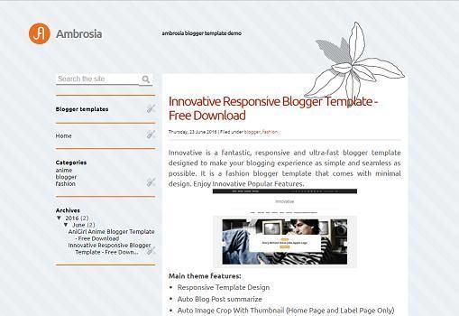 Ambrosia is a free blogger template that has 2 columns ...