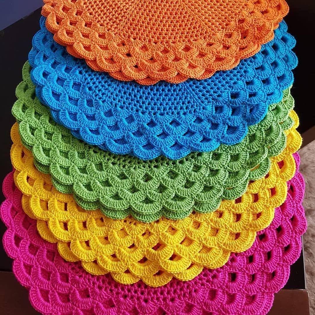 Sousplat de croche colorido