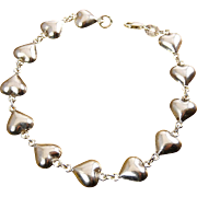 Sterling Silver Puffy Hearts Bracelet with Fitted Gift Box