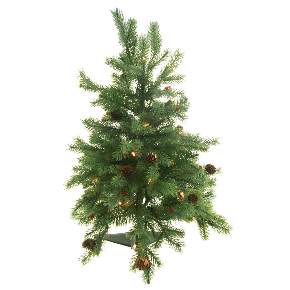 Pre-Lit Artificial Christmas Tree with Red Berries, Green, 24-Inch