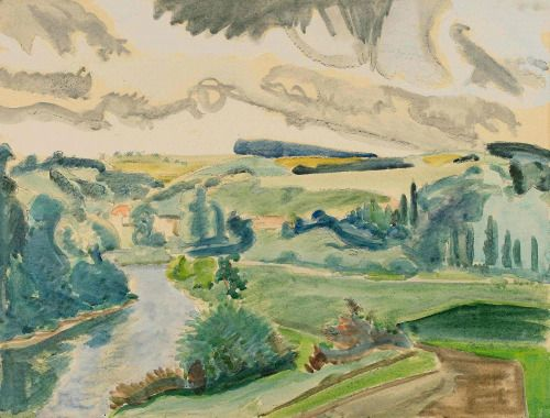 Erich Heckel (German, 1883-1970), Flusslandschaft [River landscape], 1951. Watercolour on wove paper, 53 x 69 cm.