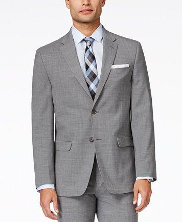 8045fa53305b19 Tommy Hilfiger Men's Light Grey Sharkskin Slim-Fit Stretch Performance Suit  | macys.com