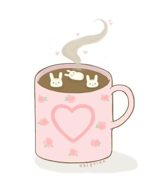 Hot Chocolate Kawaii Pink Bunnies Kawaii Bunny Kawaii Drawings Kawaii Cute