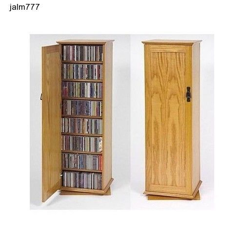 Two Sided Spinning Multimedia Storage Cabinet Oak CD DVD VHS Organize Space Save