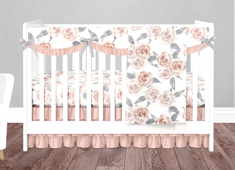 Baby Girl Crib Bedding Set Custom Floral Nursery Bedding Peach