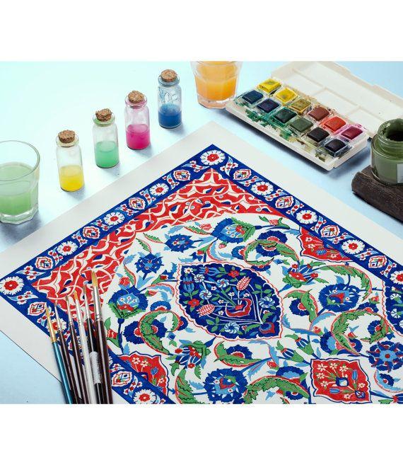 Traditional Ottoman Tulip Watercolor Wall Art Turkish Floral: Turkish Ornament Tile Watercolor Art, Ottoman Iznik Tile