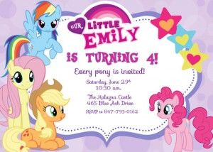 Free Printable My Little Pony Birthday Invitations Card