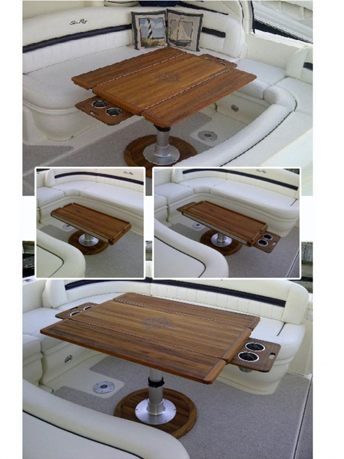 Nt21 Teak Hi Lo Table With Fold Outs Retractable Cup Holders And Compass Rose Inlay Pontoon Boat Accessories Boat Decor Boat Table