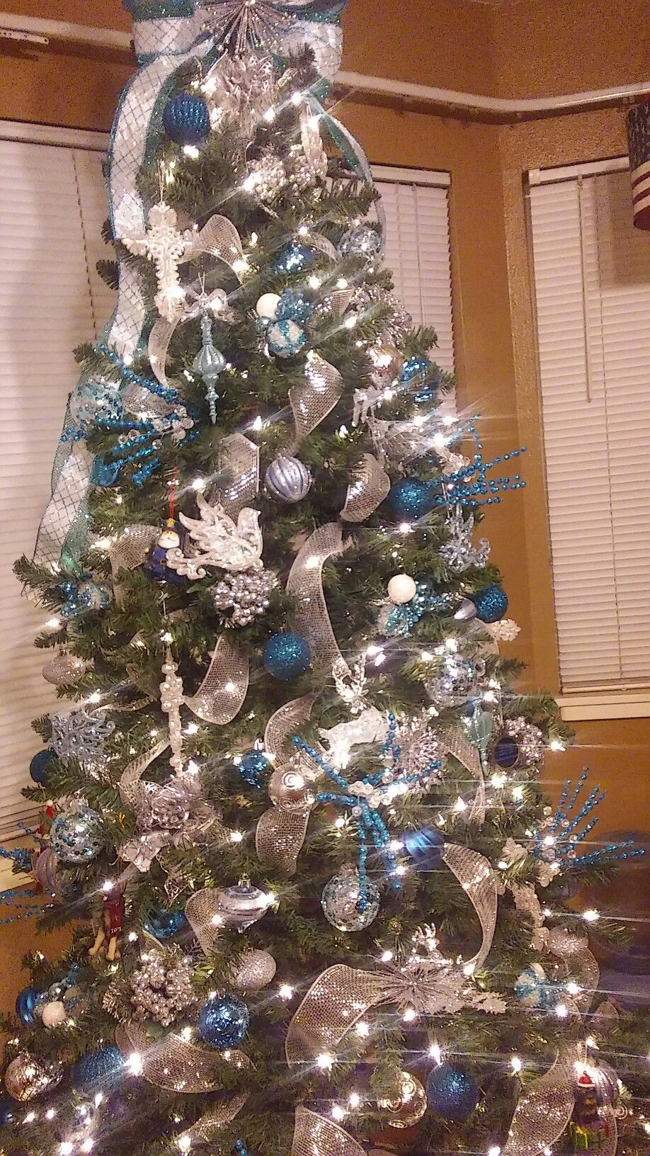 Turquoise Christmas Lights.Christmas Tree In Light Blue Turquoise White And Silver