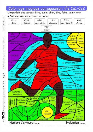 Coloriage magique conjugaison ce1 ce2 imparfait - Coloriage magique maths ce2 ...