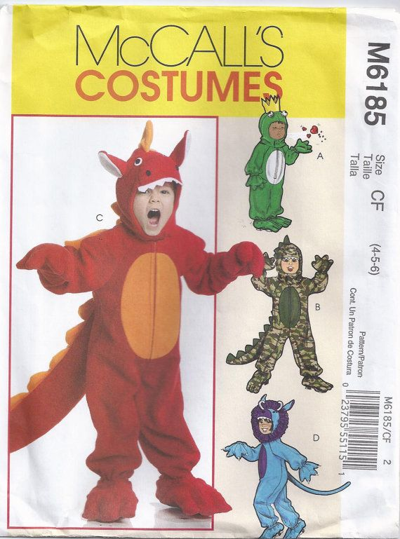 Childrens Dinosaur Costume Sewing Pattern Size 4 To 6 Unused McCalls M6185  sc 1 st  Pinterest & Childrens Dinosaur Costume Sewing Pattern Size 4 To 6 Unused McCalls ...