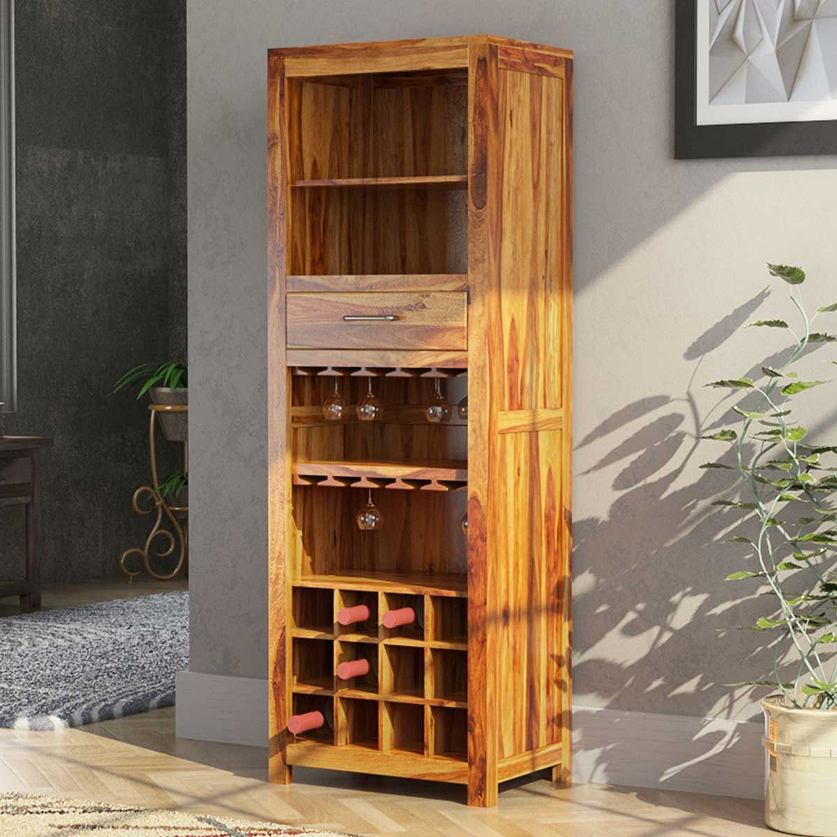 California Contemporary Handcrafted Solid Wood Rustic Tall Bar
