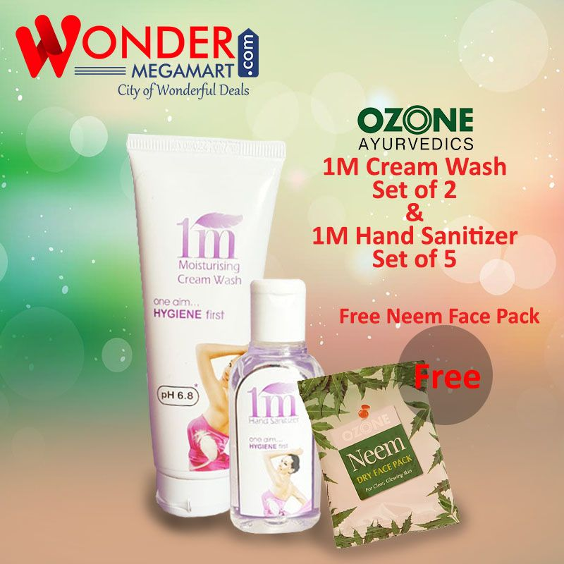 Ozone 1m Cream Wash Set Of 2 1 M Hand Sanitizer Set Of 5 Free