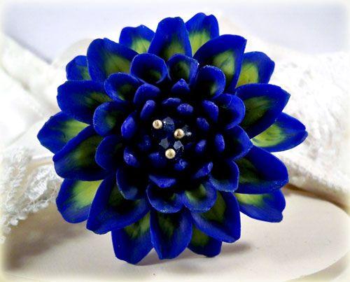 Blue Dahlia Brooch Pin
