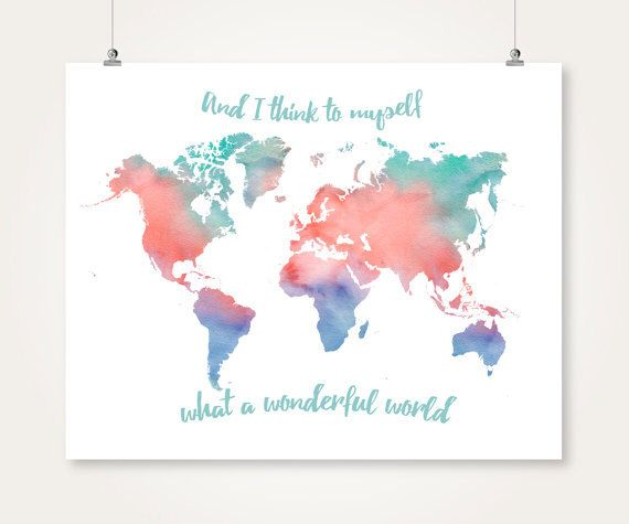 Watercolor World Map Printable Download Turquoise And Coral And Navy - World map poster large download